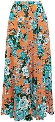 Diane von Furstenberg Pleated Floral-Print Silk Crepe De Chine Maxi Skirt