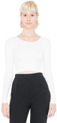 American Apparel Women's Cotton Spandex Jersey Long Sleeve Crop Top Size XS