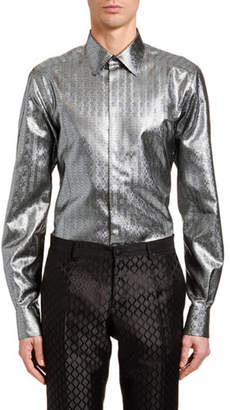 Dolce & Gabbana Men's Metallic Chevron Jacquard Sport Shirt