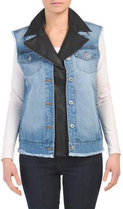 Juniors Denim Vest With Faux Leather Trim