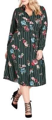City Chic Plus Flowerclass Floral-Print Shirtdress