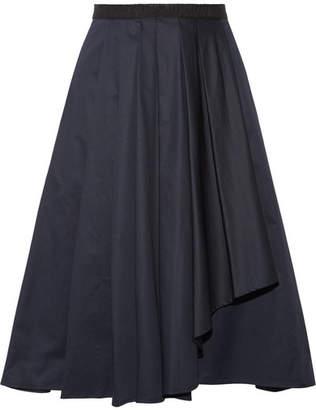 Jason Wu - Asymmetric Pleated Cotton-poplin Skirt - Midnight blue $685 thestylecure.com