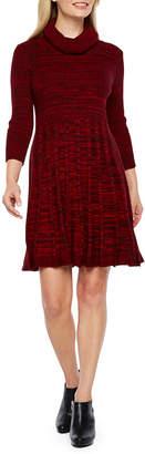 Studio 1 3/4 Sleeve Fit & Flare Dress-Petite