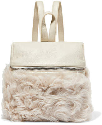 Kara Small Textured-leather And Shearling Backpack - Cream