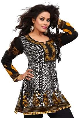 Maple Clothing India Long Tunic Top Kurti Womens Printed Indian Apparel (Black, S)