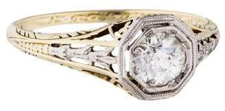 Platinum & 14K Diamond Filigree Engagement Ring