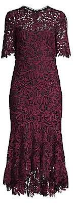 Shoshanna Women's Vitti Floral Lace Flounce Midi Sheath Dress - Size 0