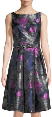 Eliza J Floral-Jacquard Belted Mini Dress