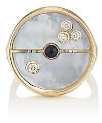 RETROUVAI Women's Compass Signet Ring-Blue