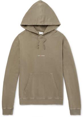 Saint Laurent Logo-Print Distressed Loopback Cotton-Jersey Hoodie