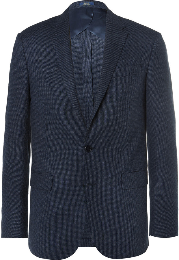 Polo Ralph LaurenPolo Ralph Lauren Blue Slim-Fit Tick-Weave Wool and Silk-Blend Blazer