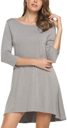 Meaneor Womens Round Neck 3/4 Sleeve V-Back Tunic Dress