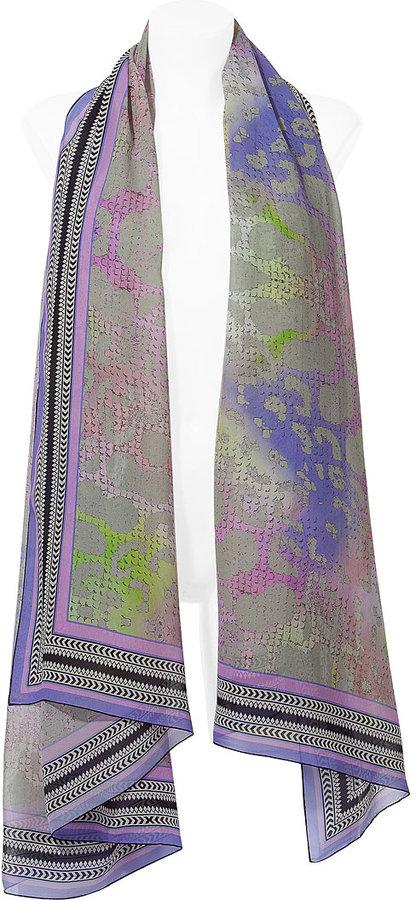 Matthew Williamson Lavender Multicolor Silk Scarf