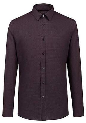 HUGO BOSS Extra-slim-fit cotton shirt with all-over logo motif
