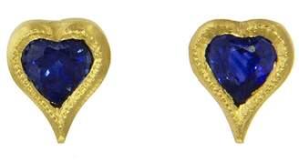 Cathy Waterman Blue Sapphire Heart Stud Earrings - Yellow Gold