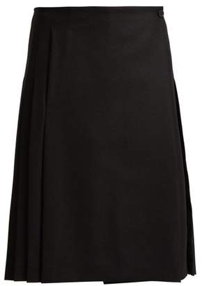 Burberry Pleated Wool Twill Skirt - Womens - Black