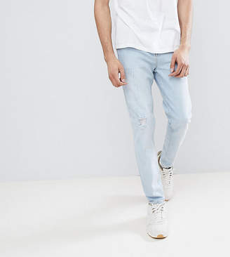 Asos Design TALL Tapered Jeans In Light Wash Blue With Abrasions