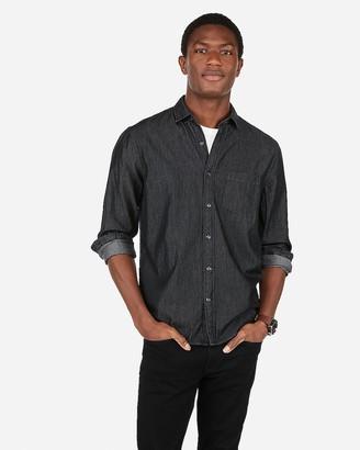 Express Classic Black Denim Soft Wash Button-Down Shirt