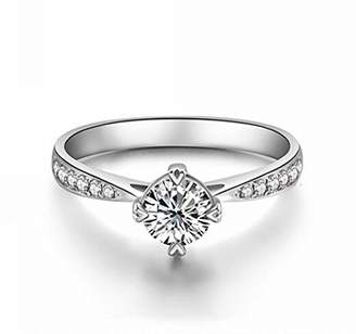 Ring Elegant Fashionable Lday 18k White Gold Plated AAA Zircon Austria Crystal Rhinestone Wedding Engagement Bridal Mother's Day Gift R19