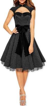 Athena BlackButterfly Athena' Polka Dot Large Bow Dress (Silver, US 8)