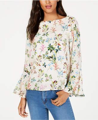 Karen Kane Floral-Print Bell-Sleeve Blouse