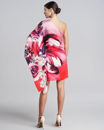 Roberto Cavalli One-Shoulder Draped Floral Dress