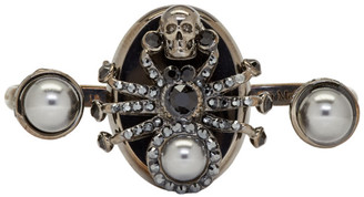 Alexander McQueen Gunmetal Spider Double Ring