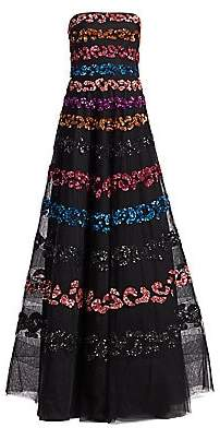 Ahluwalia Women's Strapless Multicolor Sequin Gown