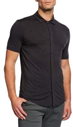 Emporio Armani Men's Striped Button-Down Polo Shirt