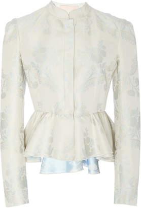 Brock Collection Oxa Floral-Jacquard Peplum Jacket