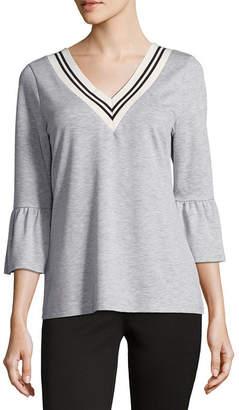 COMO BLU Como Blu 3/4 Bell Sleeve French Terry Sweatshirt