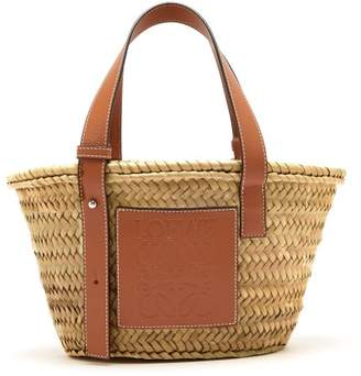 Loewe Small Raffia Basket Bag - Womens - Tan Multi