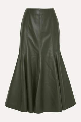 Gabriela Hearst Amy Leather Midi Skirt - Army green