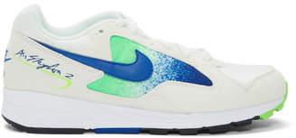 Nike White and Green Skylon II Sneakers