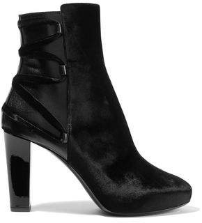Lanvin Velvet And Leather Ankle Boots