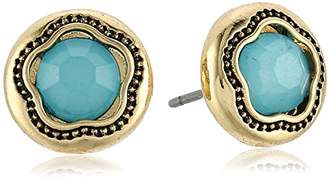 Laundry by Shelli Segal Round Stone Blue Stud Earrings