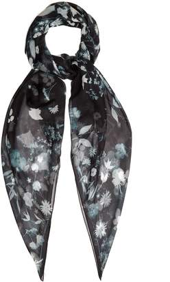 Alexander McQueen Skull and floral-print silk scarf
