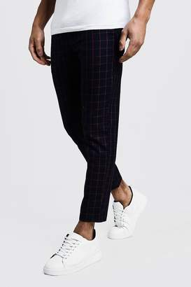 boohoo Windowpane Check Smart Cropped Jogger