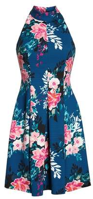 Vince Camuto Textured Floral Scuba Crepe Fit and Flare Dress