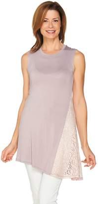 Logo By Lori Goldstein LOGO Layers by Lori Goldstein Knit Tank with Asymmetric Lace Godet