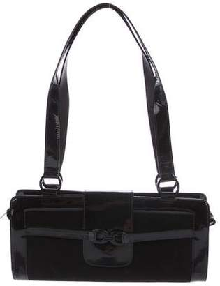 Stuart Weitzman Patent Leather-Trimmed Suede Shoulder Bag