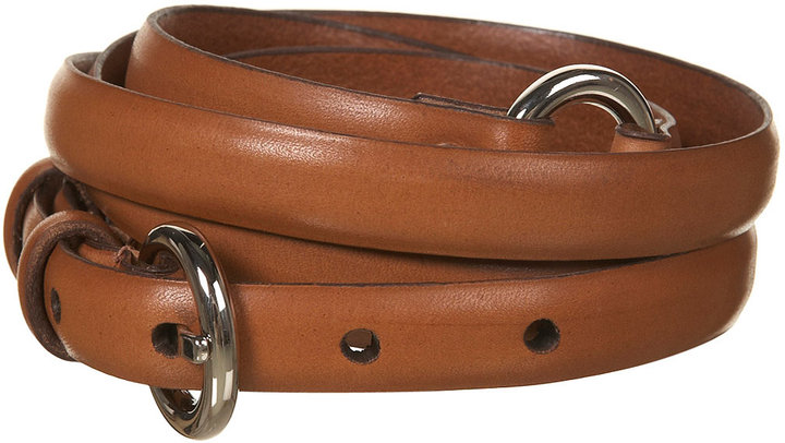 Camel Double Wrap Skinny Leather Belt