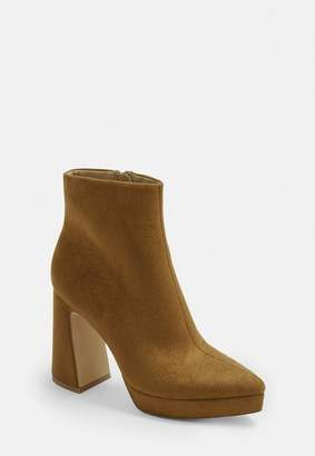 Missguided Tan Faux Suede Pointed Toe Platform Boots