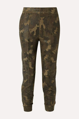 Sprwmn Leather-trimmed Camouflage-print Suede Track Pants - Army green