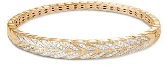 John Hardy 18K Yellow Gold Modern Chain Pavé Diamond Hinged Bangle
