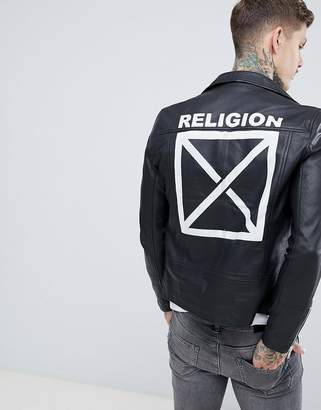 Religion leather jacket in black with back print
