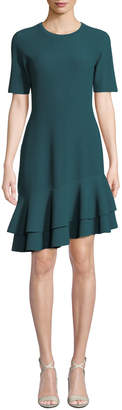 Diane von Furstenberg Adeline Ribbed Asymmetrical Flounce Tee Dress
