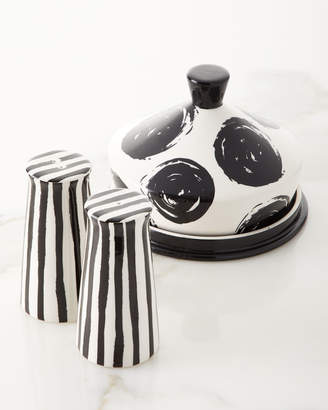 Butter Shoes Coton Colors Deco Pedestal Salt and Pepper Shakers with Dot Dish