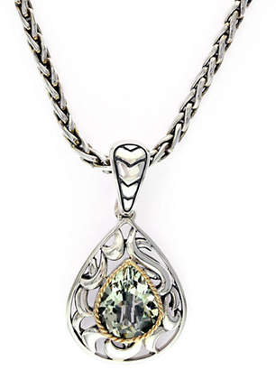 Effy 18k Yellow Gold and Silver Green Amethyst Pendant