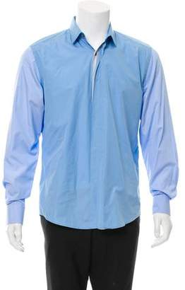 Lanvin Woven Two-Tone Button-Up Shirt